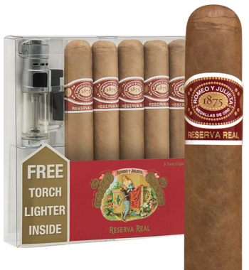 Romeo y Julieta Reserva Real Robusto 5 Pack w/ Torch Lighter