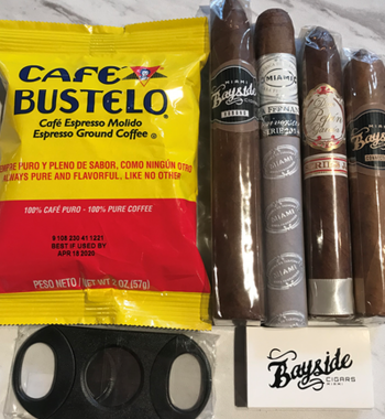 Bayside Cigars 4 cigars pack w cuban coffee and cutter